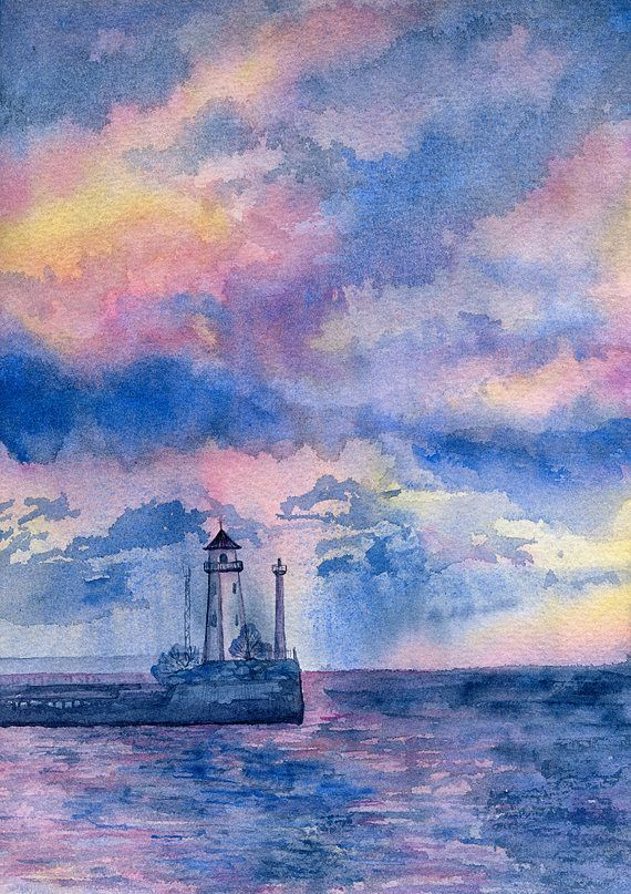 Original watercolor artwork with Lighthouse in the sea and