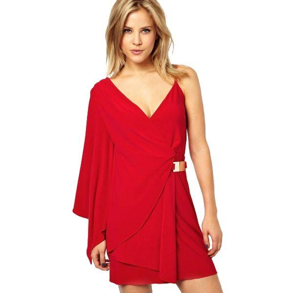 Deep V-Neck Solid Short Red Dress With Belt