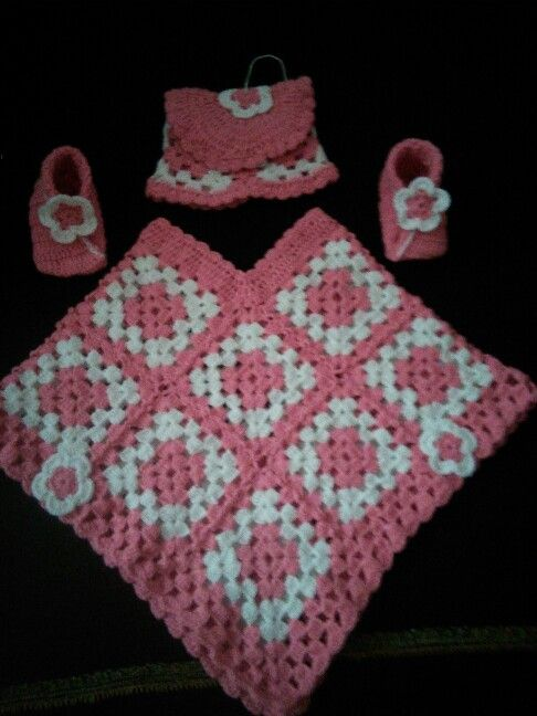 Baby crochet ponchu with cap n shoes