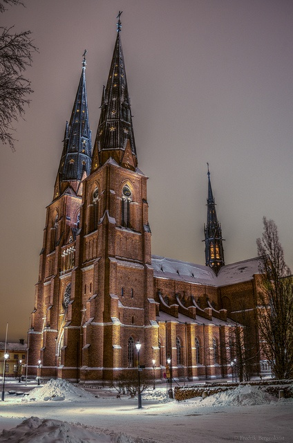 Uppsala Cathedral, Uppsala Sweden. The largest and tallest cathedral in Scandinavia. Construction on the cathedral began around 1270