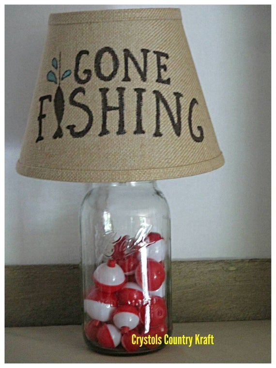 Fishing Theme Lampmason Jar Lamp With Burlap Lamp Shade Gone Fishing Lamp Fishing Bobbers Nursery Lamp Woodland Fishing Room Burlap Lampshade Fishing Bedroom