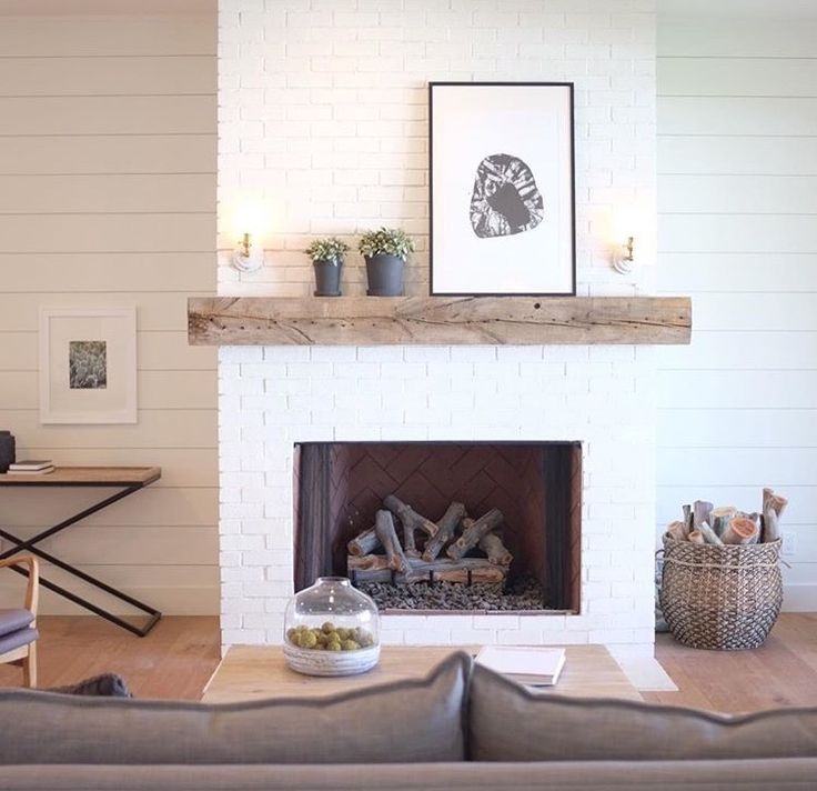 Image Result For White Shiplap Walls With Brick Fireplace White