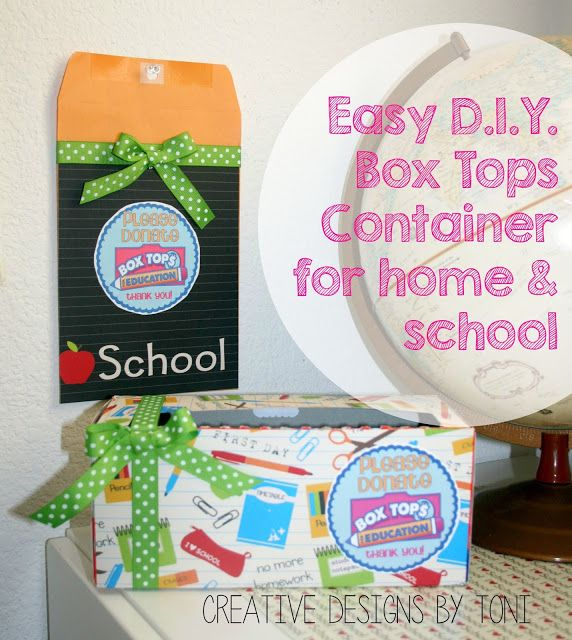 Easy DIY Box Top Container for Home and School  Easy DIY Box Tops Container to collect all those #Hefty4BoxTops with help from @Hefty #ad #cbias Creative Designs by Toni