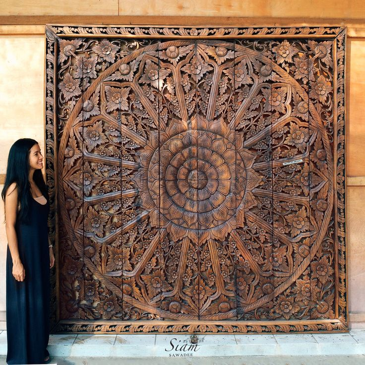 Large relief carving teak wood wall panel thai asian