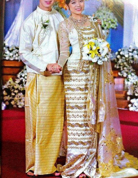 Gold Burmese Couple At Wedding