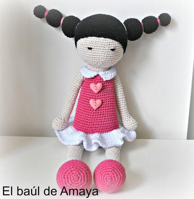 El baúl de Amaya: MUÑECA DE GANCHILLO CON COLETAS