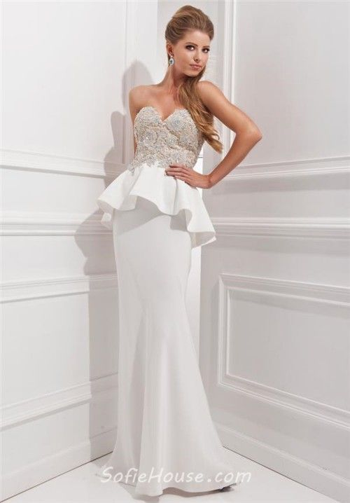 Fitted Mermaid Sweetheart Long White Chiffon Lace Beaded Formal Peplum Prom Dress