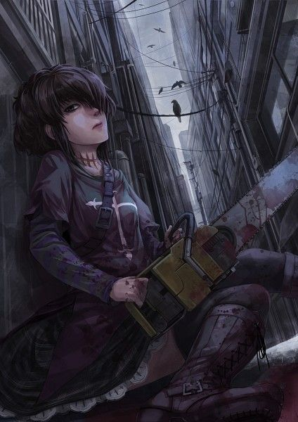 Tags: Anime, City, Black Lagoon, Chainsaw, Building, Crow, Frederica Sawyer