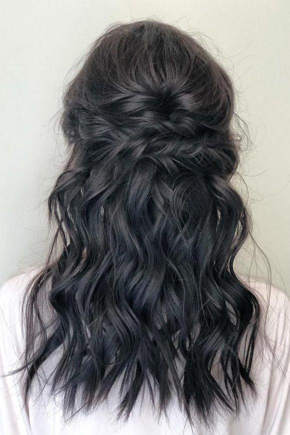 bohemian wedding hairstyles medium black wavy half up half down swept christyyoo_artistry #weddinghairstyles #wedding #hairstyles #bohemian ,