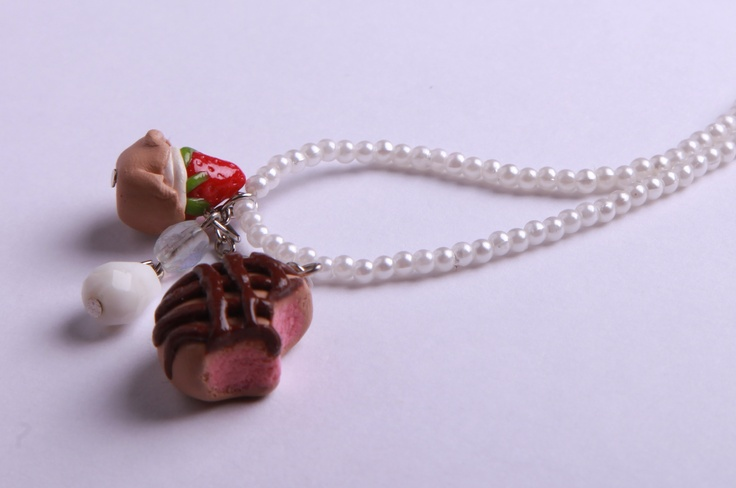 """Polymer Clay """"Mixed Deserts"""" necklace by milk+biscuit, $14"""
