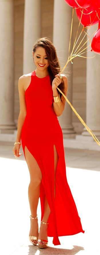 Shop this look on Lookastic:  http://lookastic.com/women/looks/gold-bracelet-gold-ring-red-maxi-dress-gold-heeled-sandals/8126  — Gold Bracelet  — Gold Ring  — Red Cutout Maxi Dress  — Gold Leather Heeled Sandals