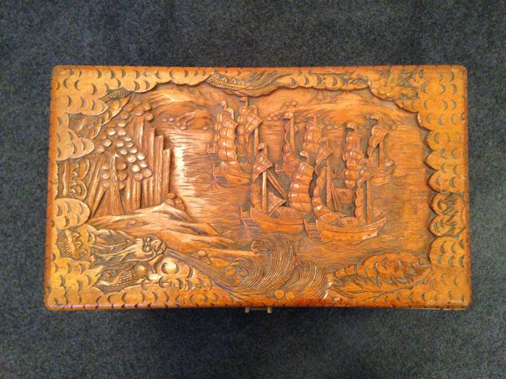 Lovely carved wooden Asian Storage box with hinged lid on legs. Wonderful detail in the ornate carvings. Measurements: Length 49cm x Width 29cm Height 32cm.
