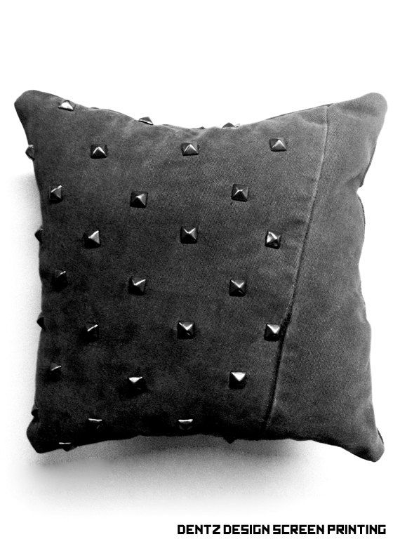 #punk #pillow #studded Black Denim Studded Pillow - Decorative Pillow. $29.00, via Etsy.