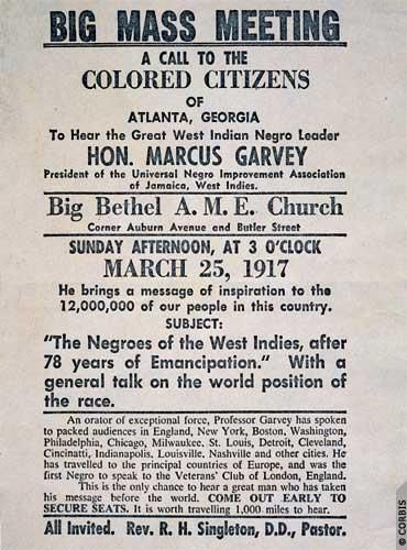 Advertisement for a 1917 Marcus Garvey speech