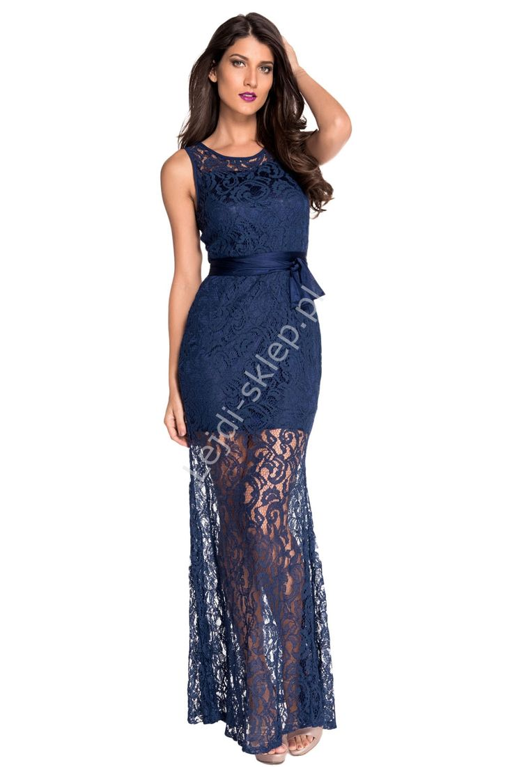 Granatowa koronkowa sukienka | długie koronkowe sukienki, maxi suknie