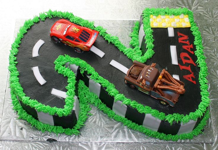 number 2 (two) Cars birthday cake — Children's Birthday Cakes