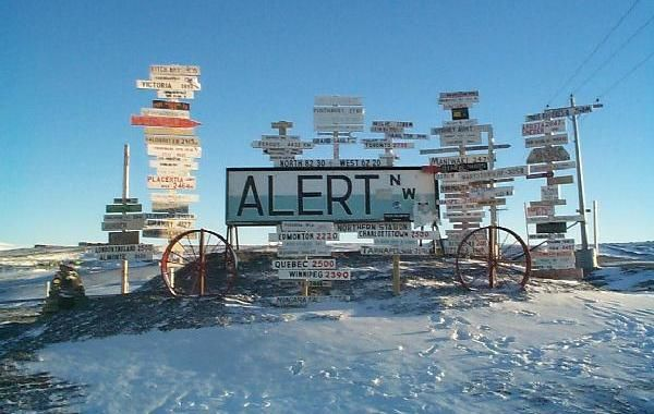Alert, Ellesmere Island, Nunavut, Canada, 82°28' N. Northernmost permanently inhabited place on the planet.