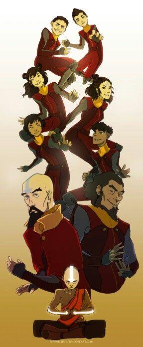 Aang& Bumi& Tenzin& Jinora& Ikki& Meelo& Rohan& Kai.