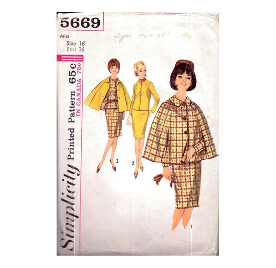 Genuine Vintage 1960s Simplicity 5669 Unusually Pretty Ladies City-Chic Skirt and Jacket Suit and Capelet Sewing Pattern