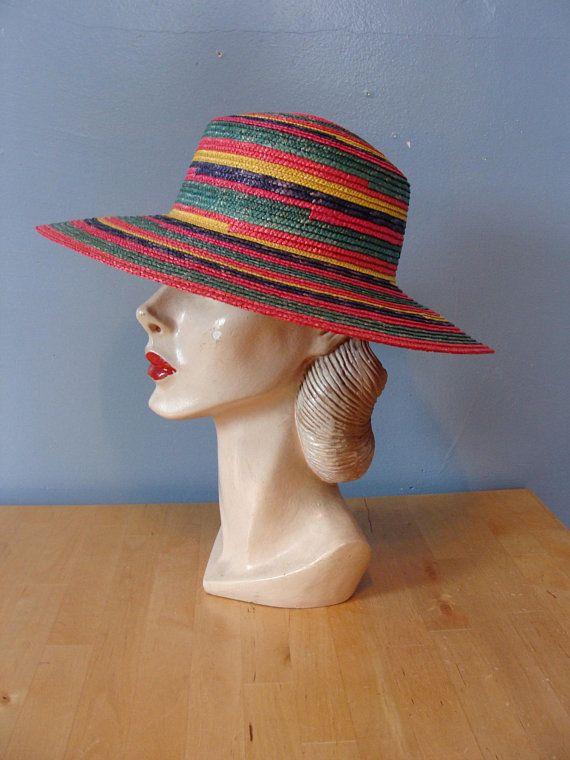 4a98f2b03ab Vintage Rainbow Beach Hat Straw Sun Hat Resort Colorful Fun ...
