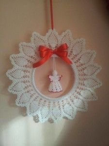 Crocheted angel and wreath ornament (pattern not in English, but has a drawn scheme)