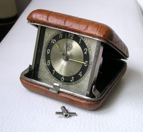 Alarm clock  East  Europa Czechoslovakia,  Travel Box Clock, Vintage, gift for man, home decor