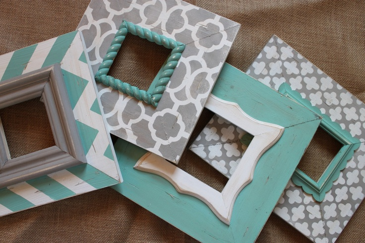 Easy recreation: Frames + paint + tape + a little sandpaper for distressing.
