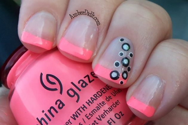 Neon French tips with Polka Dots by AmberDidIt - Nail Art Gallery nailartgallery.nailsmag.com by Nails Magazine www.nailsmag.com #nailart
