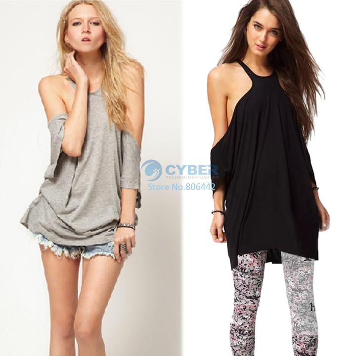 2014 New Women's European Style Loose Off-shoulder T-shirt Tops 3 colors 3 Sizes drop shipping 15657 b010