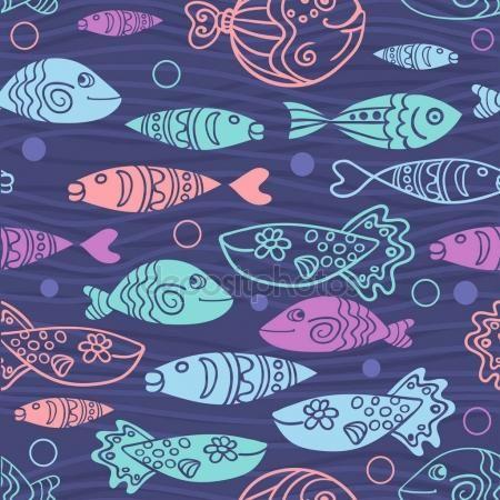 Бесшовный фон с рисованной смешные рыбы в стиле эскиз. Декоративный фон бесконечные морской. Дизайн ткани —  Векторное изображение © tinkerfrost #154907836