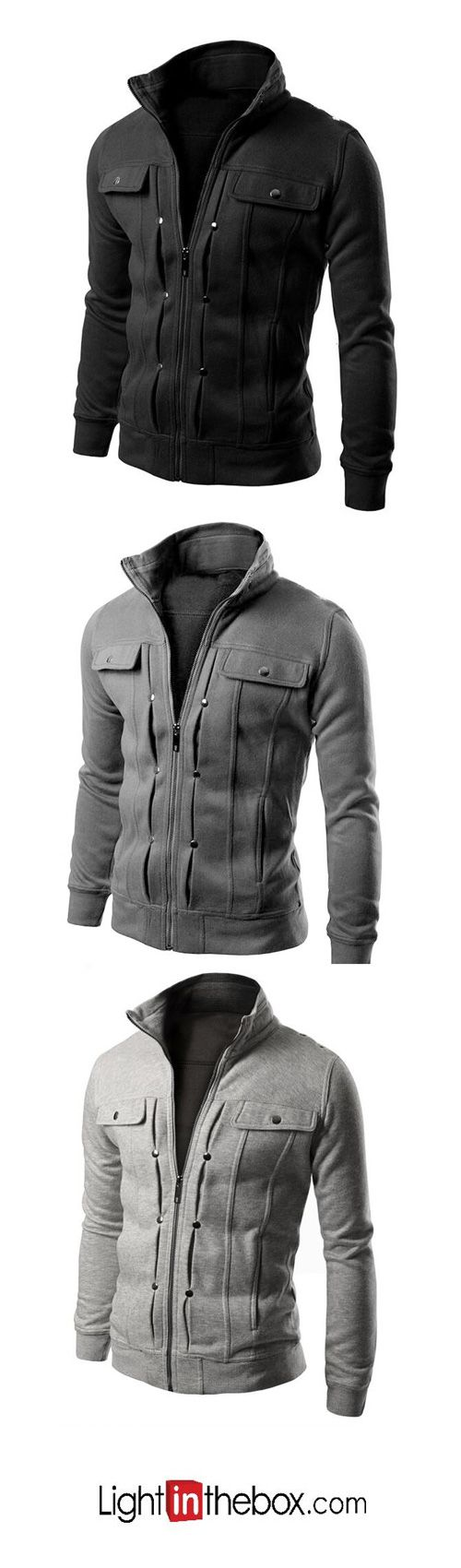 Mens going out hoodie jacket solid stand micro elastic others long sleeve spring fall