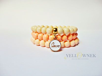 APRICOT LOVE Fashion handmade glass bead bracelets with a little charm.  Bead size: 8mm You can order a single bracelet.