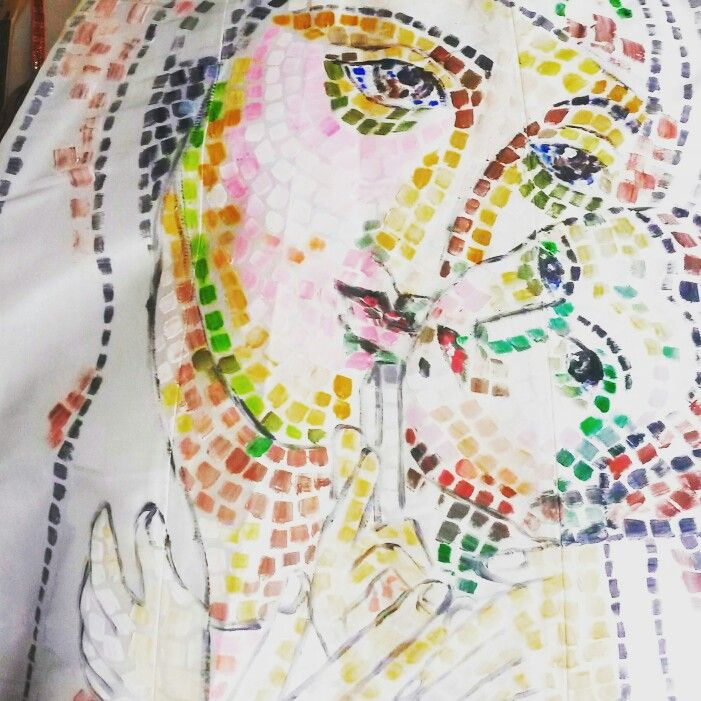 Handmade dress ; Madonna's mosaic