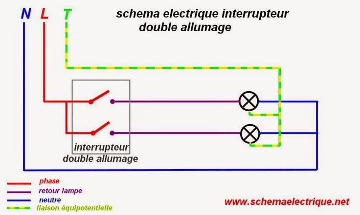 double allumage Câblage électrique Pinterest - Plan Electrique Salle De Bain