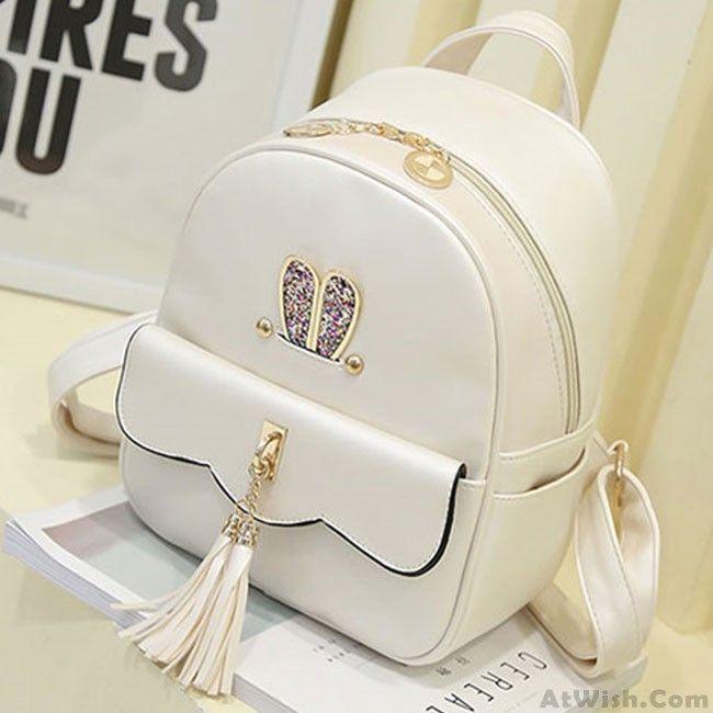 Leisure Lotus Leaf School Backpack PU Girls Tassels Pink Rabbit Ear Backpack