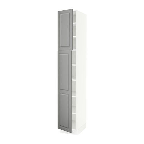 """SEKTION High cabinet with shelves & 2 doors - white, Bodbyn gray, 15x24x90 """" - IKEA for pantry"""