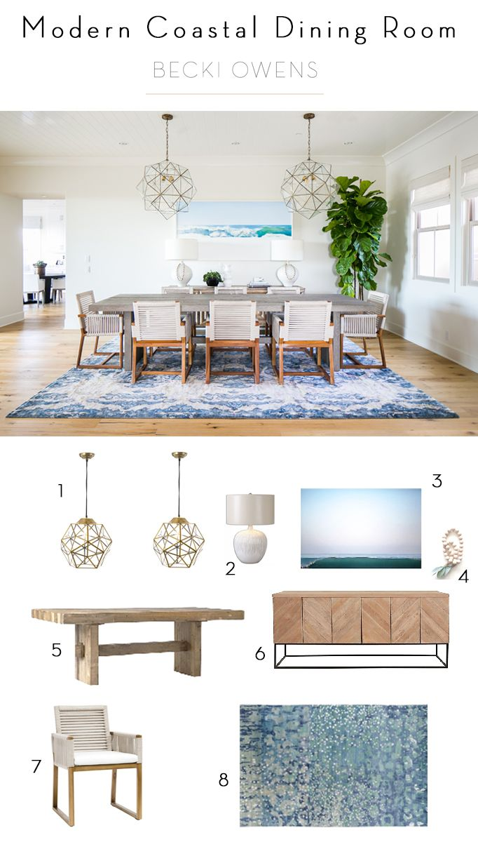 BECKI OWENS- Estillo Project Dining Room - modern coastal dining with woven chairs, geometric brass pendants, and blue Eskayal rug. BM Swiss Coffee and hand scraped oak floors Desert Haze by Provenza.