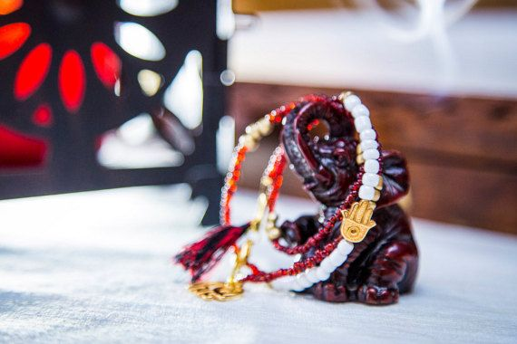 Hamsa Hand Beaded Wrap Bracelet Glass Seed Beads by MindTheGrace
