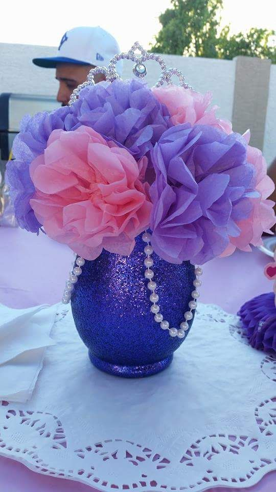 Subtle Sofia the First centerpieces