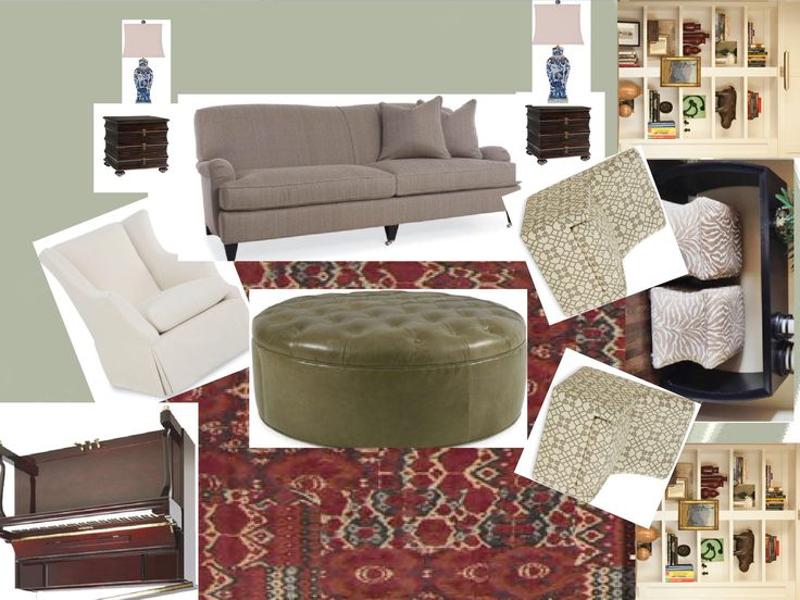 Wals: saybrook sage.  Cr laine sofa, ottoman, chairs.  Upholster in colors that complement art.  Purchase through lex furniture to save $$. Tommy Bahamas end tables.  Lamps from amazon.  Baldwin piano mahogany only thing missing is brass mirror and accessories for bookcase