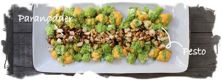 Salat af blomkål m. pesto og brændte nødder