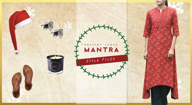 For your Christmas day at home, to kick off the festivities, don a Santa cap! Keep extras in hand for other family members as well! Make sure you were stylish yet comfortable footwear. A hint of silver should go well with this tunic. Light a scented candle to get your home smelling nice and cozy! #MantraStyleFiles #FestiveStyle #ShaliniJamesMantra