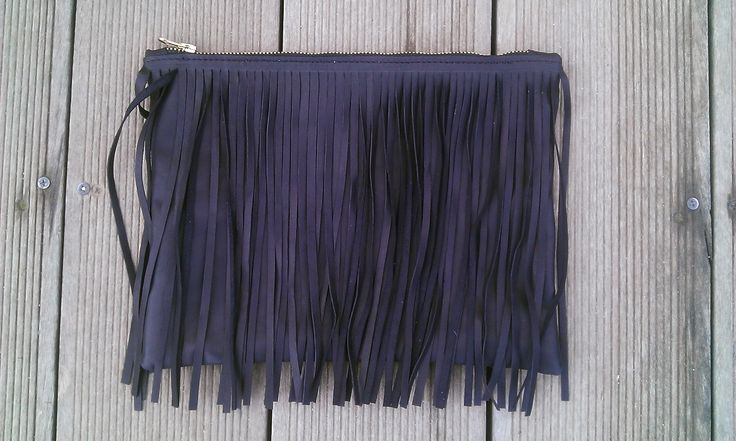Black calf leather fringe clutch, with red interior lining. All Handmade!! Metal zipper, very soft leahter