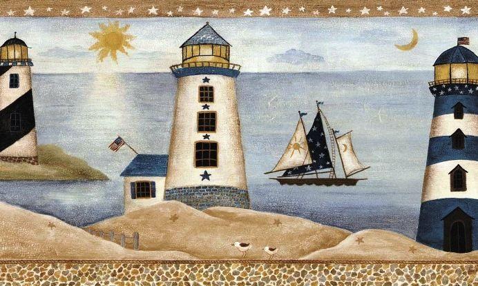 Nautical Seaside Lighthouse Saiboat Wallpaper Border