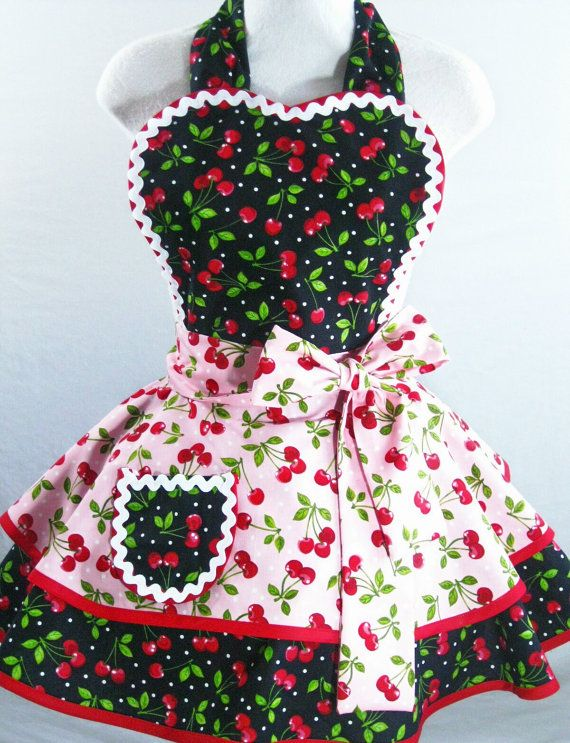Red Cherry Pin Up Apron