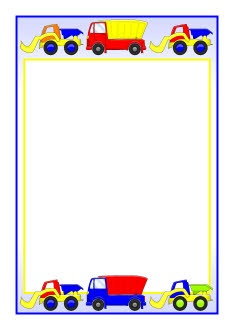 Dump trucks and diggers A4 page borders (SB8156) - SparkleBox