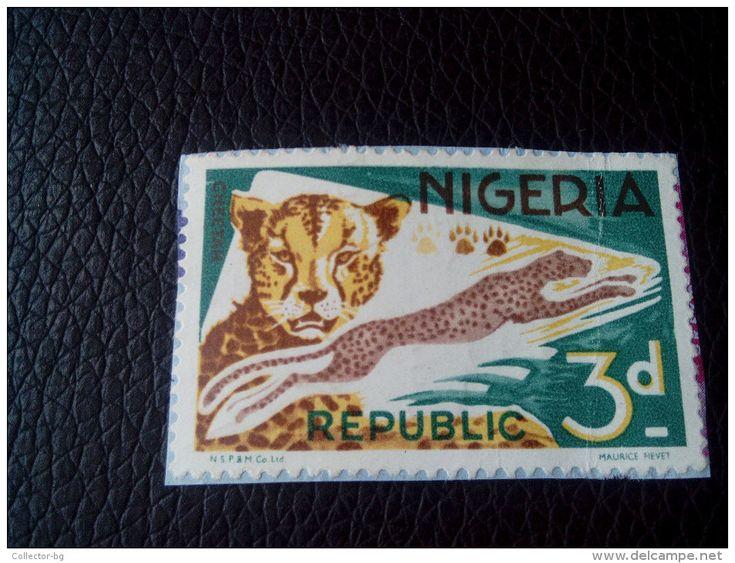RARE 3D CHEETAH NIGERIA REPUBLIC  LETTRE STAMP ON PAPER COVER USED SEAL - Nigeria (1961-...)