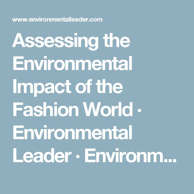 Assessing the Environmental Impact of the Fashion World · Environmental Leader · Environmental Management News