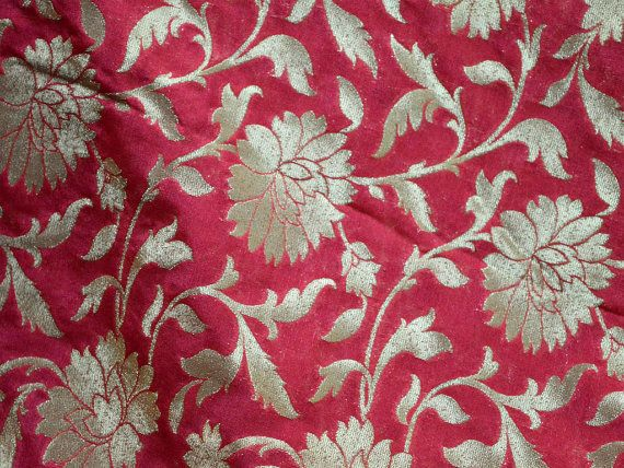 Wedding Dress Fabric, Brocade fabric by the Yard, Pinkish Red Brocade Fabric for jacket, Banarasi Fabric, Indian Blended Silk costume fabric