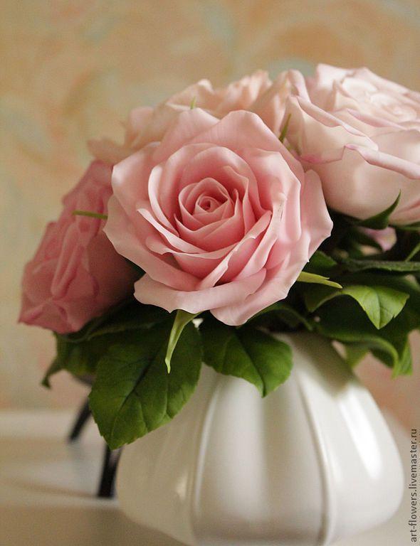 Розовые розы (холодный фарфор, porcelana). Автор - Елена Щеглова